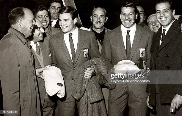 Football Chile South America Argentine footballers Marcelo Pagani and Antonio Roma are pictured being greeted as they arrived in Chile to take part...
