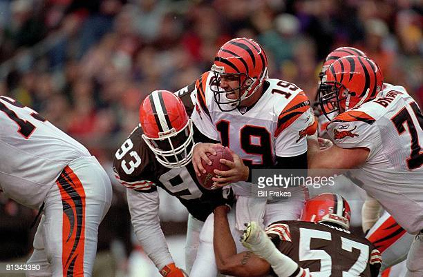 Football Cincinnati Bengals QB Scott Mitchell in action during tackle vs Cleveland Browns Cleveland OH