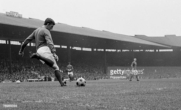 Football Circa 1960/70's Goalkeeper Alex Stepney of Manchester United about to kick the ball