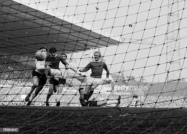 Football, Circa 1965, English league Division 1, Old Trafford, Manchester United v Liverpool, George Best and Dennis Law celebrate as Manchester...