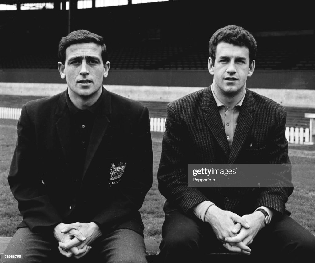 Football. Circa 1965. Portrait of Shay Brennan and Pat Dunne of Manchester United. : News Photo