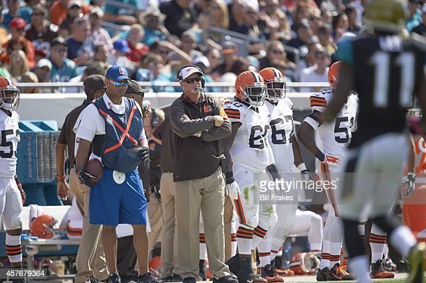 Cleveland Browns assistant offensive line coach George DeLeone on sidelines during game vs Jacksonville Jaguars at EverBank Field Jacksonville FL...