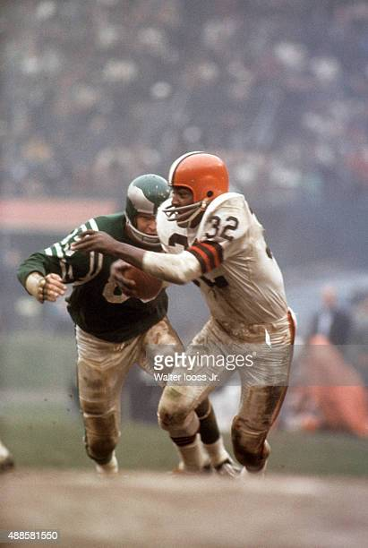 Cleveland Browns Jim Brown in action rushing vs Philadelphia Eagles at Cleveland Municipal Stadium Cleveland OH CREDIT Walter Iooss Jr
