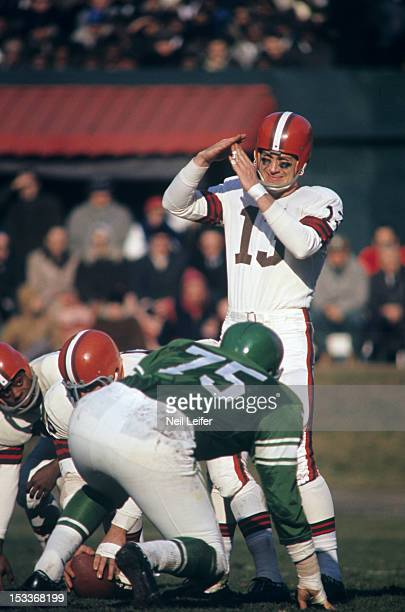 Cleveland Browns QB Frank Ryan calling timeout at line of scrimmage during game vs Philadelphia Eagles at Municipal Stadium Cleveland OH CREDIT Neil...