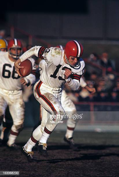 Cleveland Browns QB Frank Ryan in action vs Green Bay Packers Ray Nitschke at County Stadium Milwaukee WI CREDIT Neil Leifer