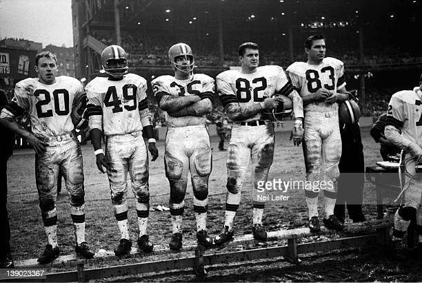 Cleveland Browns Ross Fichtner Walter Beach Galen Fiss Jim Houston and Johnny Brewer on sidelines during game vs New York Giants at Yankee Stadium...