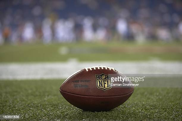 Closeup of ball on field during New York Jets vs New England Patriots game at Gillette Stadium Equipment Foxborough MA CREDIT Damian Strohmeyer