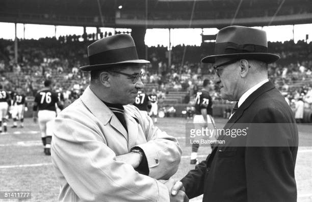 Football Closeup of Chicago Bears coach George Halas and Green Bay Packers coach Vince Lombardi Chicago IL