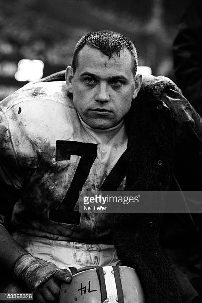 Closeup of Cleveland Browns Dick Modzelewski on sidelines during game vs New York Giants at Yankee Stadium Bronx NY CREDIT Neil Leifer