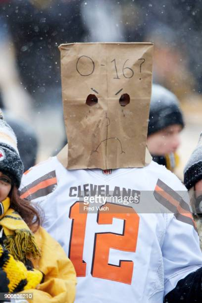 Closeup of Cleveland Browns fan in stands with brown paper bag over head that reads 016 during game vs Pittsburgh Steelers at Heinz Field Pittsburgh...