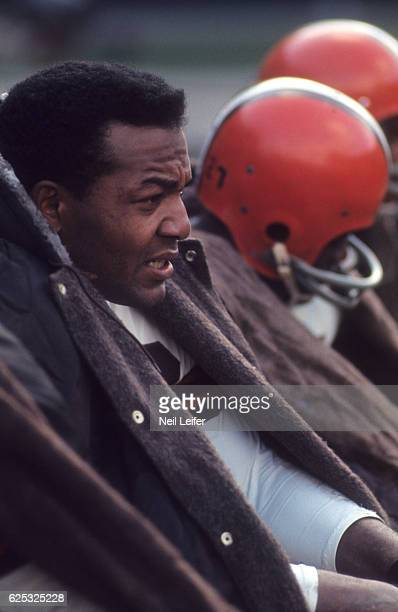 Closeup of Cleveland Browns Jim Brown on bench during game vs Philadelphia Eagles at Cleveland Stadium Cleveland OH CREDIT Neil Leifer