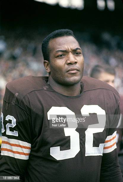 Closeup of Cleveland Browns Jim Brown on sidelines during game vs Philadelphia Eagles at Municipal Stadium. Cleveland, OH CREDIT: Neil Leifer