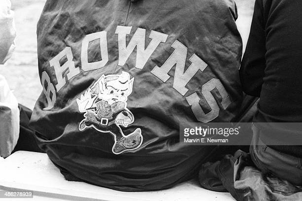 Closeup of Cleveland Browns logo detail on cape of player on sidelines during game vs New York Giants at Cleveland Municipal Stadium Cleveland OH...
