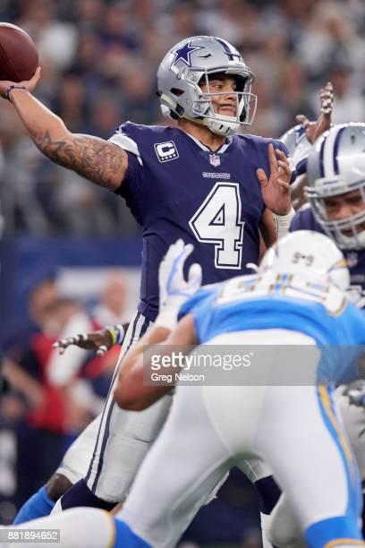 Closeup of Dallas Cowboys QB Dak Prescott in action passing vs Los Angeles Chargers at ATT Stadium Arlington TX CREDIT Greg Nelson