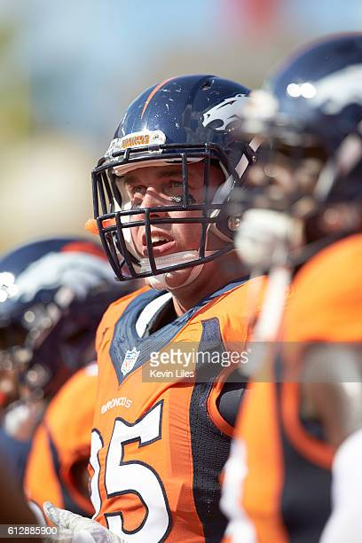 Closeup of Denver Broncos Derek Wolfe during game vs Tampa Bay Buccaneers at Raymond James Stadium Weather rain Tampa FL CREDIT Kevin Liles