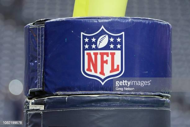 Closeup of field goal stanchion cushion with NFL logo before Houston Texans vs Dallas Cowboys game at NRG Stadium. Equipment. Houston, TX 10/7/2018...