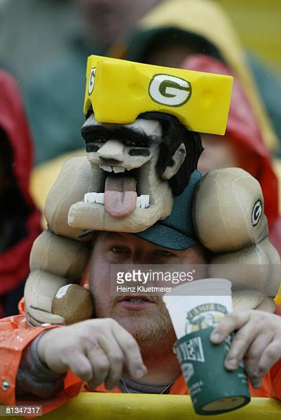 Football: Closeup of Green Bay Packers fan during game vs Detroit Lions, Green Bay, WI 9/14/2003