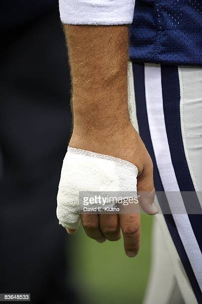 Closeup of hand of Dallas Cowboys QB Tony Romo with broken pinky finger during game vs St Louis Rams Romo sidelined with Injury St Louis MO CREDIT...