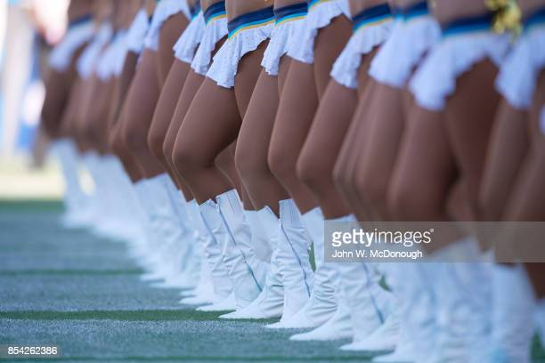 Closeup of legs of Los Angeles Chargers cheerleaders during game vs Kansas City Chiefs at StubHub Center Carson CA CREDIT John W McDonough