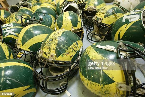 Closeup of Leone High helmets equipment Pago Pago ASM 7/24/2003