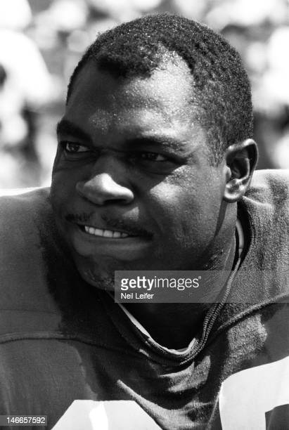 Closeup of Los Angeles Rams Lamar Lundy on sidelines bench during game vs New Orleans Saints at Tulane StadiumNew Orleans LA 9/17/1967CREDIT Neil...
