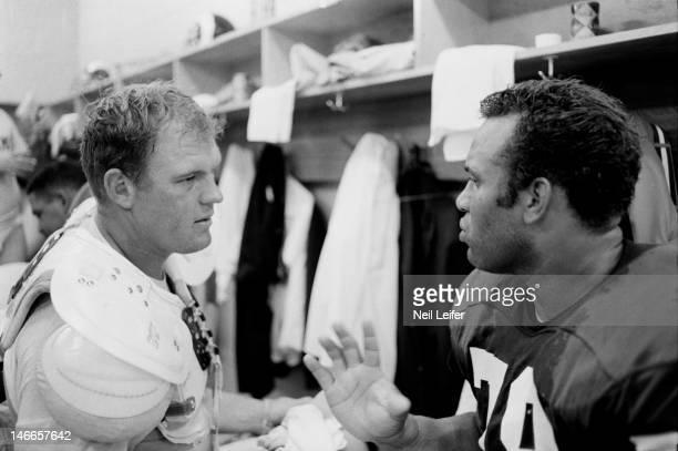 Closeup of Los Angeles Rams Merlin Olsen in locker room after game vs New Orleans Saints at Tulane Stadium. New Orleans, LA 9/17/1967CREDIT: Neil...