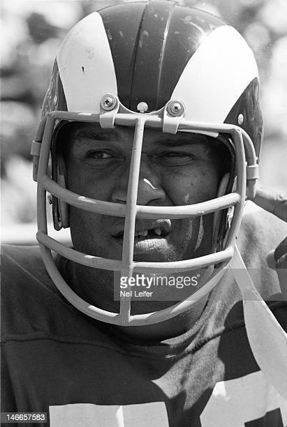 Closeup of Los Angeles Rams Roger Brown on sidelines bench during game vs New Orleans Saints at Tulane StadiumNew Orleans LA 9/17/1967CREDIT Neil...
