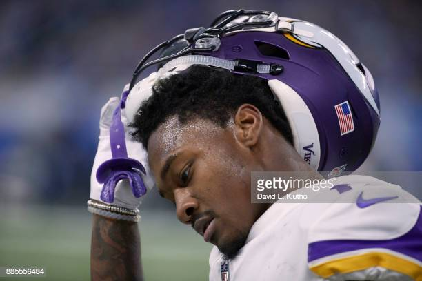 Closeup of Minnesota Vikings Stefon Diggs during game vs Detroit Lions game at Ford Field Detroit MI CREDIT David E Klutho