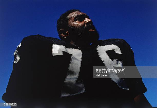 Closeup of Oakland Raiders Bob Brown on sidelines during game vs Kansas City Chiefs at OaklandAlameda County Coliseum Oakland CA CREDIT Neil Leifer