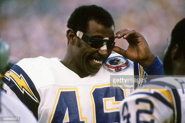 Closeup of San Diego Chargers Chuck Muncie on sidelines during preseason game vs Cleveland Browns at Jack Murphy Stadium San Diego CA CREDIT Mickey...