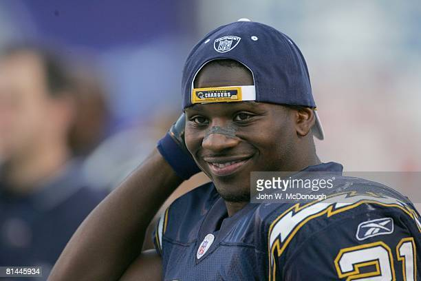 Football Closeup of San Diego Chargers LaDainian Tomlinson on bench during game vs Oakland Raiders San Diego CA
