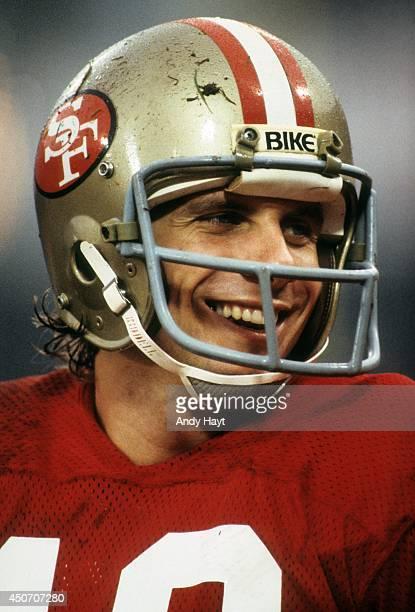 Closeup of San Francisco 49ers QB Joe Montana during game vs Houston Oilers at Candlestick Park San Francisco CA CREDIT Andy Hayt