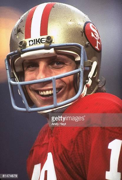Football Closeup of San Francisco 49ers QB Joe Montana during game vs Houston Oilers San Francisco CA