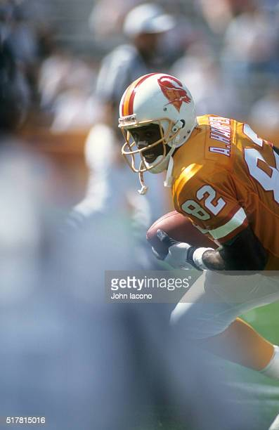 Closeup of Tampa Bay Buccaneers Alvin Harper warming up before game vs Carolina Panthers at Memorial Stadiuim Clemson SC CREDIT John Iacono
