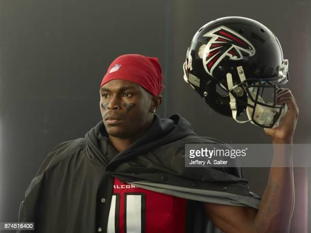Closeup portrait of Atlanta Falcons wide receiver Julio Jones posing during photo shoot at Atlanta Falcons Practice Facility Flowery Branch GA CREDIT...