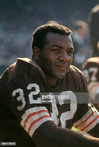 Closeup portrait of Cleveland Browns Jim Brown on sidelines bench during game vs Philadelphia Eagles at Municipal Stadium Cleveland OH CREDIT Neil...