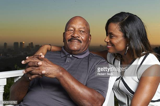 Closeup portrait of former Cleveland Browns running back and NFL Hall of Famer Jim Brown posing with wife Monique during photo shoot at their home in...
