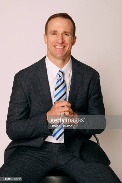 Closeup portrait of former New Orleans Saints QB Drew Brees posing during photo shoot at New Orleans Saints Practice Facility Brees was the MVP of...