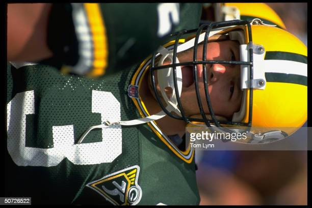 Closeup portrait of Green Bay Packers James Campen alone during game vs LA Rams