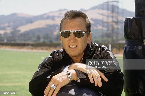 Closeup portrait of Los Angeles Raiders owner Al Davis during training camp photo shoot at El Rancho Tropicana Santa Rosa CA CREDIT Peter Read Miller