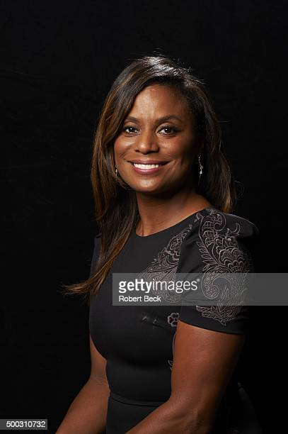 Closeup portrait of Monique Brown, wife of former Cleveland Browns running back and NFL Hall of Famer Jim Brown, posing during photo shoot at their...