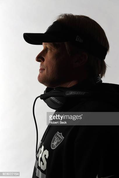 Closeup portrait of Oakland Raiders head coach Jon Gruden posing during photo shoot at team headquarters Alameda CA CREDIT Robert Beck