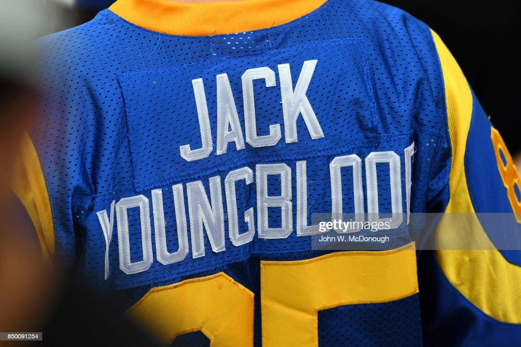 buy popular 39983 6a2e0 Closeup rear view of Los Angeles Rams fan wearing JACK ...