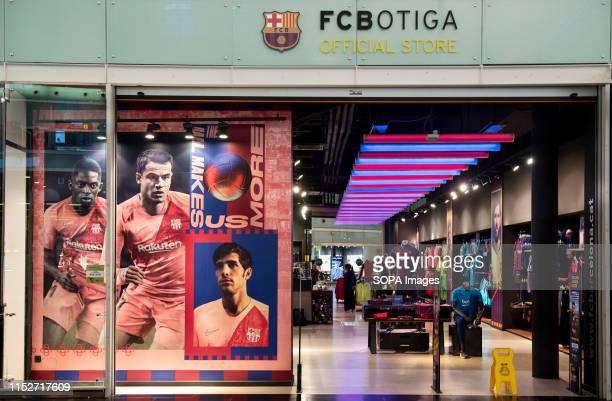 Football Club Barcelona brand store at the El Prat Josep Tarradellas airport in Barcelona