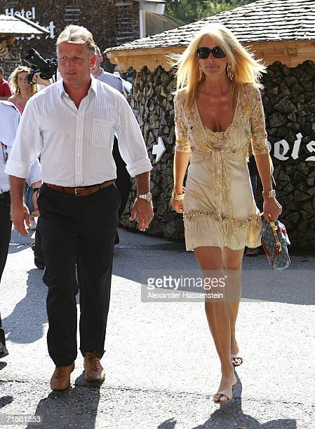Football coach Andreas Brehme arrives with his wife Pillar Brehme at the Wedding party of Heidi and Franz Beckenbauer at the Hotel Stanglwirt on July...