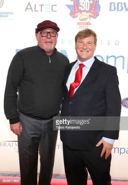 NFL football coach Bruce Arians and sports agent/event host Leigh Steinberg attend the 30th Annual Leigh Steinberg Super Bowl Party on February 4...