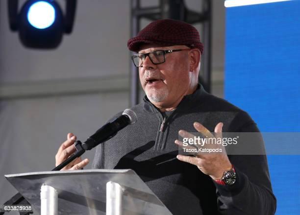 NFL football coach Bruce Arians speaks onstage during the 30th Annual Leigh Steinberg Super Bowl Party on February 4 2017 in Houston Texas
