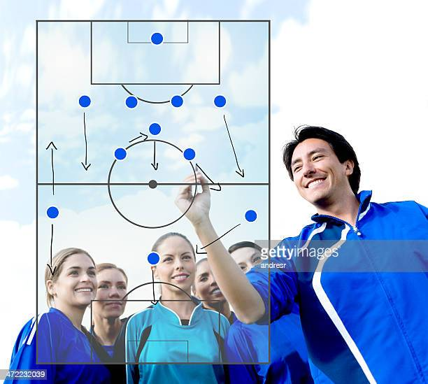 Football coach explaining tactics