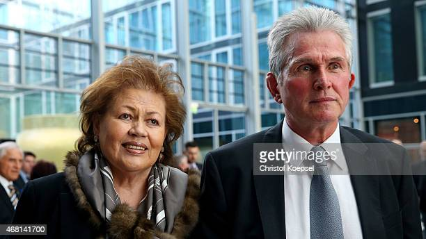 Football coach Jupp Heynckes and his wife Iris Heynckes pose during the coaching award ceremony and closing Event UEFA Pro Coaching Course 2014/2015...