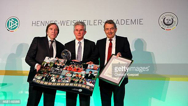 Football coach Jupp Heynckes was honoured with the honorary price of his life's work of the German Football Association by Gunether Netzer and...